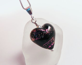 Dichroic Murano Glass Heart Pendant on Sterling Silver Chain, Black with Purple Flashes, Mother's Day Gift for Her, Gift for Girl