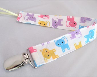Universal Fabric Pacifier & Toy Clip - Kitty Kitty in Pastel - Paci Clip, Teether Clip, Binky Clip, Baby Shower Gift