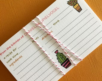Succulent Pots- 3x5 Personalized recipe cards, set of 20