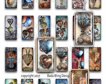 Steampunk, INSTANT Download, 24mm x 48mm for 1 x 2 pendants, steampunk collage sheets, steampunk jewelry, 1 x 2 collage sheets