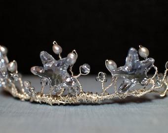 Mermaid Crown, Starfish Tiara, Bridal Mermaid Tiara, Swaroski Crystal Starfish and Pearl Wire Wrapped Tiara