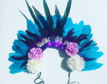 Feather Rio Carnival Festival Head Dress Statement Head Piece Flower Crown