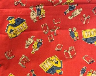 Vintage red cotton fabric 1940s 35 x 70 inch piece of school house theme children juvenile print premium weave
