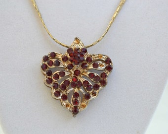Rhinestone Necklace, Vintage Red Crystal Necklace, Vintage Penant,  Rhinestone Necklace, Gold Necklace, Crystal Necklace, 18 KT Gold Chain