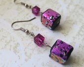 Bright pink dichroic glass bead earrings cubes