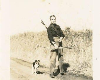 vintage photo 1940s Delmer Ray Man Bow & Arrow Hunting w Dog