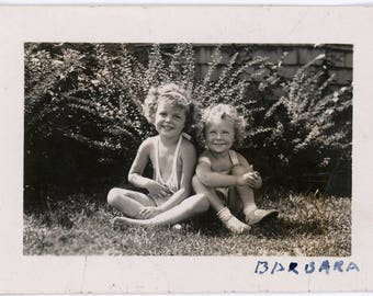 vintage photo Barbara and her Best Friend MAry Summer Jumpers 1934