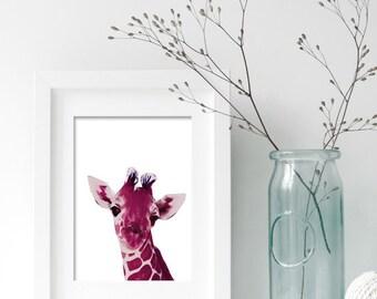 Instant Download! Giraffe Face Adorable Print in Four Sizes 4x6, 5x7, 8x10, 11x14  Magenta Printable Safari Nursery Decor