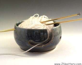 Yarn Bowl - Ceramic Yarn Keeper - Knitter Accessory - Stoneware Skein Holder - Waterfall Blue - Handmade Pottery - Yarn Craft Supply  v628