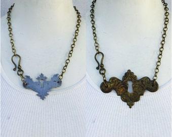 Antique Keyhole necklace. Vintage brass Escutcheon key hole statement Evening hardware Found Object bronze silver upcycle repurpose bulk s28