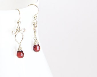 Arabella - Red Garnet and Sterling Silver Petite Earrings