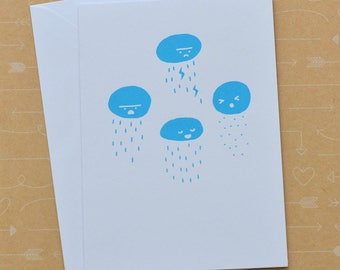 Rainclouds Screenprinted Card