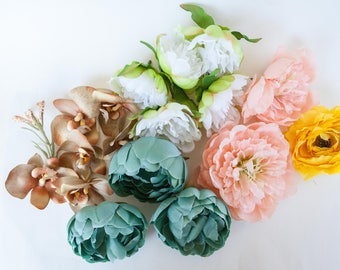 GRAB BAG #19 - 18 Medium Size Flowers in Mixed Colors - Silk Artificial Flowers