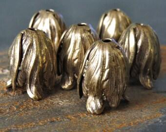 Antiqued Brass 11x9mm Tulip Bead Cap Cone:  6 pc Small Tulip Beadcap