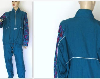 Vtg 80s 90s Track Suit Reebok Blue Track Suit/  Windbreaker Jacket Jogger Pants Sz M