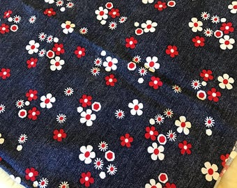 "Vintage Floral Print Fabric | Cotton Blend | Red, White + Blue | Flower Power | Textile Art Supply | 40""wide x 31"" long"