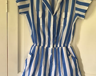 80s Romper One Piece Shorts Suit Blue and White Vertical Stripes Women's Size Large