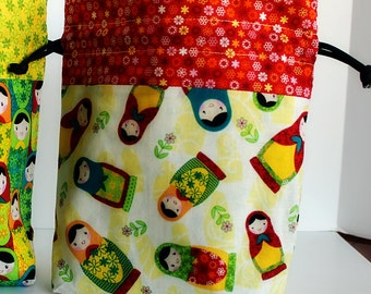 Knitting Project Bag, Purse, Crochet Project Bag, Cross-stitch Project bag, Drawstring Bag, Drawstring Pouch, Matryoshka Doll, Gift for Her