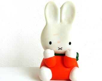 Vintage 80s Dick Bruna Miffy Squeaky Toy, 1980s Sega Bunny Squeeze Doll, Nursery Decor, Baby Boy Room, Baby Girl