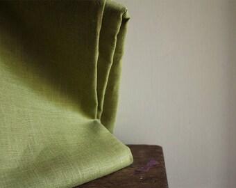 LINEN FABRIC - light moss green / mid weight linen fabric / european flax / supplies by runningthreads