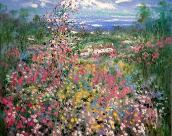 Merry Christmas Sale 15% Original oil painting 20 x 20 x 1-  Wild Flower Cottage  - FREE SHIPPING in Us