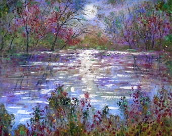 Giclee Canvas Print  Summer moon , Stream  and Fireflies Vadal - 20 x 20
