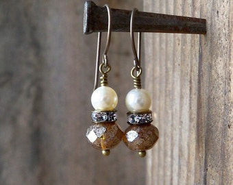 Hypoallergenic - Wedding Jewelry - Rustic Wedding - Ivory Pearl Earrings - Titanium Earrings - Bridal Jewelry - Titanium - Vintage Style