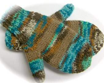 Mittens, Children, Hand Knit, Teal, Brown Multicolor, 3 to 4 years