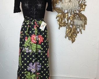 Fall sale 1970s skirt maxi skirt 70s skirt black skirt floral skirt high waist skirt size x small Vintage skirt cotton skirt