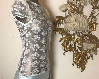 1980s blouse lace blouse flapper top micro mini size small vintage dress 80s does the 20s 32 bust