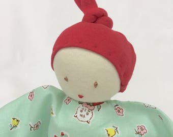 Waldorf Style Baby Doll, Infant & Toddler Size, Hand Embroidered Face, 11 Inch (Ready to Ship)