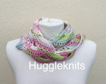 Bright Cotton Shawlette / Wrap in Spring colours