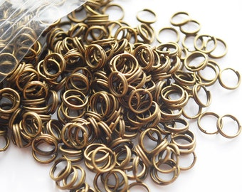 Antique Vintage Brass Split Rings, 6MM, 100Pcs