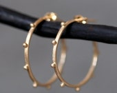 30% OFF WINTER SALE Small Beaded Hoop Earrings in 14k Gold