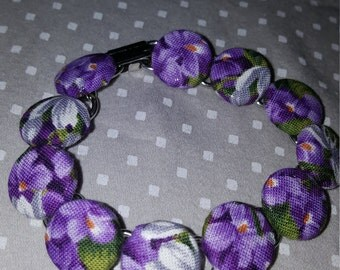 Purple flower fabric button bracelet