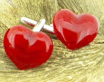 Red Glass Heart Cufflinks - Rich Cloudy Red Glass - Choice of Silver Or Gold T-Bars - Gift Boxed
