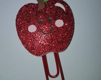 Smirkles by Picks & Stones glitter Apple Paperclip/Planner accessories/ Apple bookmark