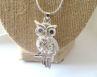 Silver Owl Pendant Necklace, 925 Owl Pendant, Owl charm, Sterling Necklace, Fashion Jewelry