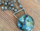 Reserved.  Sterling Silver and Labradorite Triangle Wirewrapped Necklace