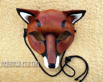 READY TO SHIP Red Fox Leather Mask ...handmade leather fox mask masquerade Mardi gras burning man costume