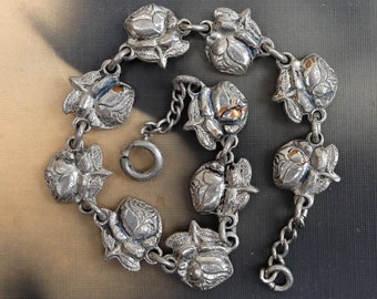 Vintage Religious Bracelet Roses Saints Links