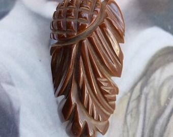 Vintage Bakelite Dress Clip Carved Brown 1940s