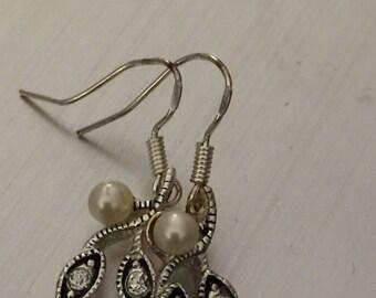 Upcycled Pearl and Rhinestone Leaf Earrings