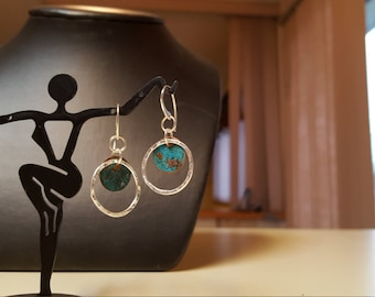 Sterling Silver and Patina Copper Disc Dangle Earrings by Sapphireskies Designs