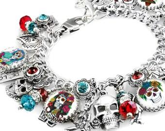 Day of Dead Bracelet, Day of Dead Jewelry, Dia de Los Muertos, Day of Dead Wedding, Day of Dead Skull