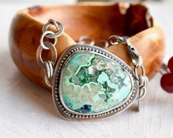 Azurite Bracelet, Sterling Silver Bracelet, Handmade Silver Chain, Fabricated Modern Jewelry, Contemporary Metalwork Bracelet