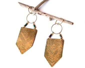 Tribal Etched Brass Geometric Shield Earrings (E1253)