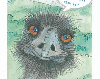 Emu or ostrich blank congrats card
