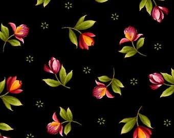 CATALINA Rosebuds on Black from Maywood Sudios, Yard