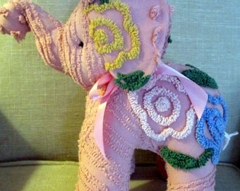 Elephant stuffed animal made from Vintage Chenille bedspread- Pink Elephants on Parade!